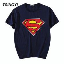 Tsingyi nuevo 5XL verano imprimir Superman hombres Camiseta 100% algodón o-cuello manga corta Camiseta hombres camiseta Asia tamaño 943