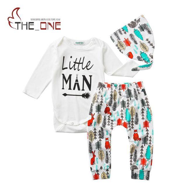 Bebé de Algodón Conjuntos Infantil Chicos Impresión de la Letra Del Mameluco Pantalones Cap 3 Unidades Trajes Toddler Kids Cartoon Homewear ropa de Sport de Pino ropa