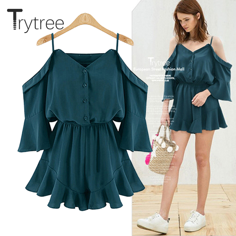 Trytrww Spring Summer Rompers Women Casual Playsuit solid tops   Jumpsuit   Ladies Off Shoulder shorts Ruffles plus size   Jumpsuits