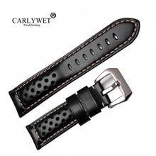 CARLYWET 22 24 26mm Groothandel Bruin Echt Leer VINTAGE Horloge Band Riem Riem Met Geborsteld Gesp Voor RADIOMIR