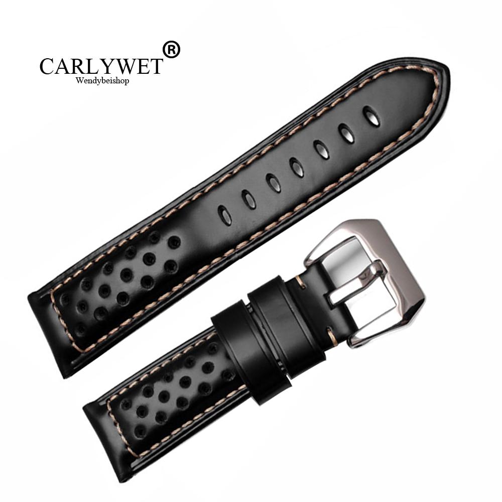 CARLYWET 22 24 26mm Venta al por mayor negro marrón cuero real VINTAGE correa de reloj correa con hebilla cepillada para RADIOMIR