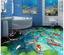 3d wallpaper custom 3d wall floor painting wallpaper Water pond carp bathroom toilet 3 d bedroom floor room photo floor wallpaer все цены