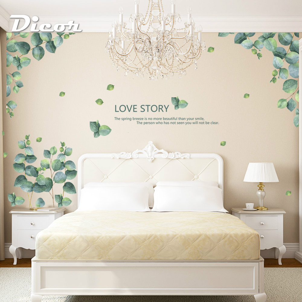 2019 New Green Plant Wall Decal Sticker Home Decor DIY Removable Art Mural For Living Room Sofa TV Background Bedroom QT495 in Wall Stickers from Home Garden