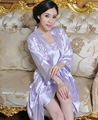2015 Purple Women's Embroider flower nightgown Bath robe gown Lingerie Sleepwear Kimono pajamas Satin Robe size M L XL XXL