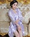 2015 Roxo Borde flor das Mulheres camisola vestido de roupão De Banho Lingerie Kimono Sleepwear pijama De Cetim Robe tamanho M L XL XXL