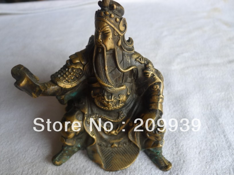 00876 Chinese Ancient Bronze Statue Of Guan Yu (A0314)
