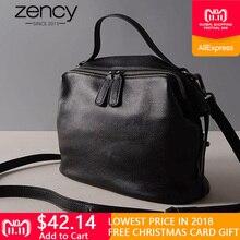 0d0a4a0e174 Zency Retro Black Women Handbag 100% Cow Leather Lady Casual Tote Fashion  Female Crossbody Messenger