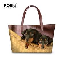FORUDESIGNS 3D Dachshund bolsos estampados mujeres marcas famosas, lindo Animal perro señoras bolso de mano, bolsos de hombro de playa de mujer grande