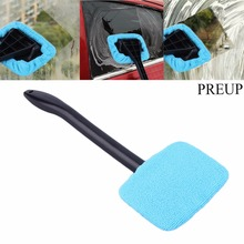 PREUP 1pc Microfiber Auto Window Cleaner Long Handle Car Washable Brush Car Window Windshield Wiper Cleaner Cloth Clean Tools