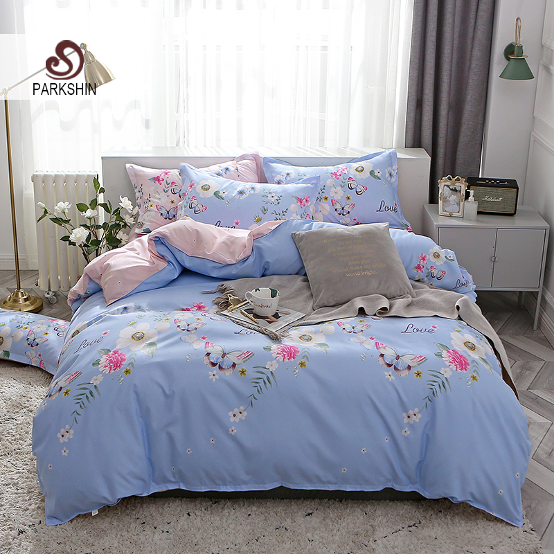 ParkShin Butterfly Flowers Bedding Set Pink Blue Duvet Cover Flat Sheet Pillowcases Double Sheet Set For Adult 2 2mKing Size Set in Bedding Sets from Home Garden