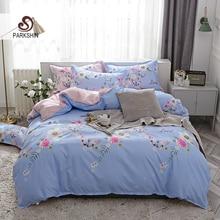 ParkShin Butterfly Flowers Bedding Set Pink Blue Duvet Cover&Flat Sheet&Pillowcases Double Sheet Set For Adult 2.2mKing Size Set bedding set полутораспальный сайлид red flowers