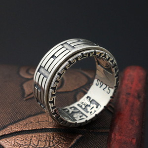 Image 2 - 925 Sterling Silver Retro Thai Silver The Eight Trigrams Ring Men Fashion Personality Rotate Ring