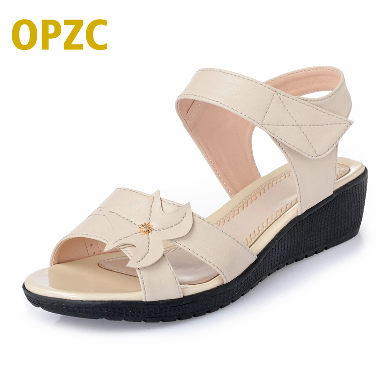 OPZC lady Summer Gladiator Sandals Women Aged Leather Flat Fashion Women Shoes Casual Occasions Comfortable The Female Sandals gktinoo 2018 summer gladiator sandals women rivet wedges fashion women shoes casual comfortable platform female sandal