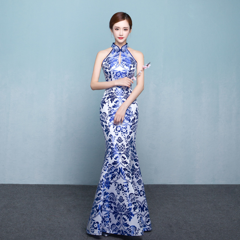 Wedding Party Cheongsam Oriental Evening Dress Chinese Traditional Womens Elegant Slim Qipao Sexy Long Robe Retro Vestidos New