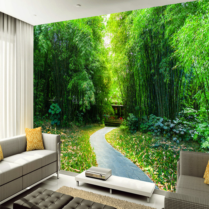 3D Wallpaper Tv Wall Mural Natural Scenery Bamboo Grove Road Landscape Murals 3D Wallpapers for Living Room Bedroom Photo Murals sea world 3d wallpaper murals for living room bedroom photo print wallpapers 3 d wall paper papier modern wall coverings