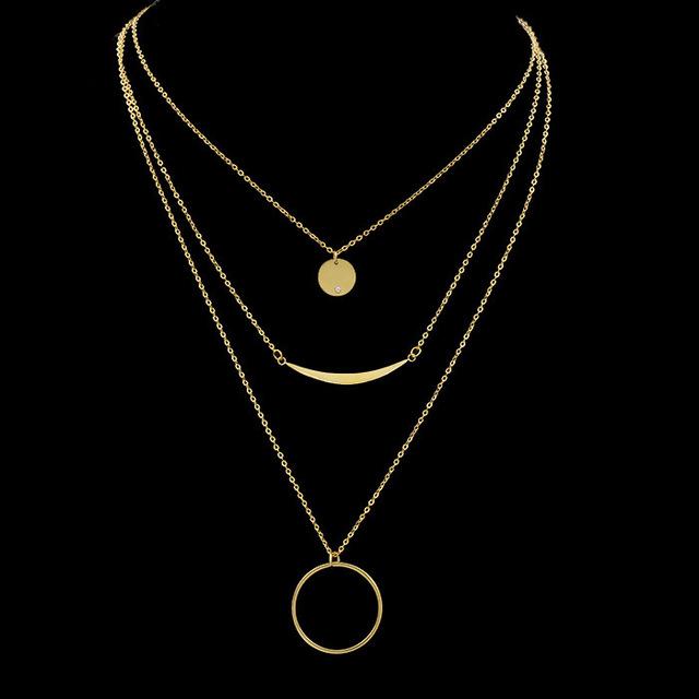 2017 elegante círculo de tres capas collar de cadena para las mujeres de señora, chapado en oro rosa de acero inoxidable collar largo collares collier