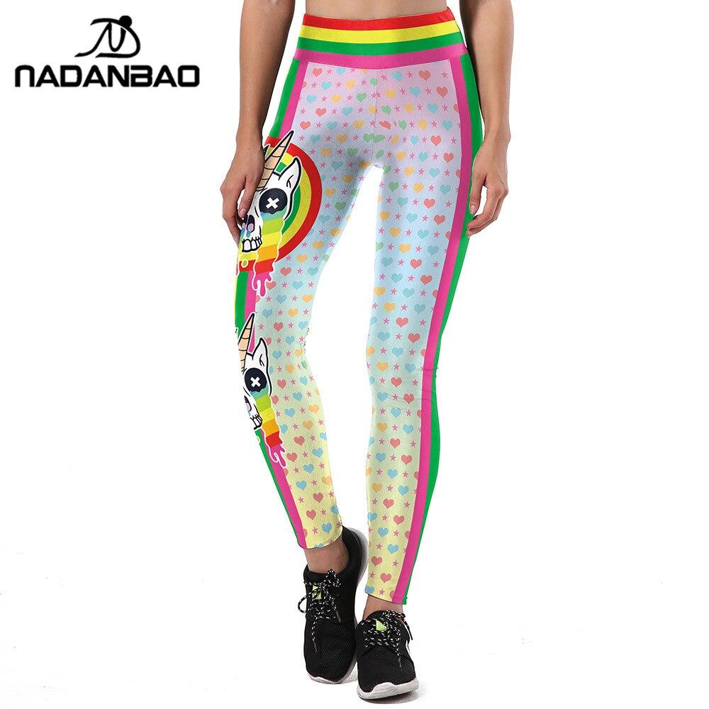 NADANBAO New Design Women Leggings Unicorn 3D Printed Sporting Leggins Graffiti Love Shape Legging Fitness High Waist Pants