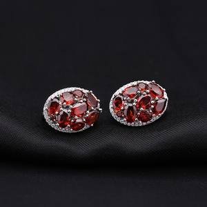 Image 4 - GEMS BALLET Natural Garnet Earrings Ring Set 925 Sterling Silver Gemstone  Vintage Jewelry Set For Women Gift Fine Jewelry