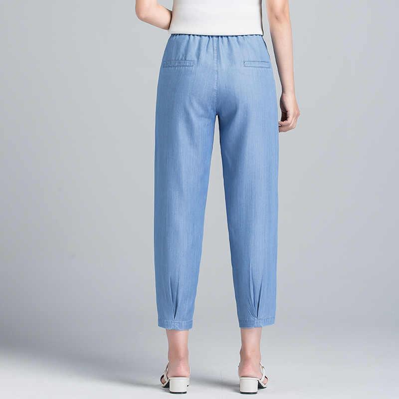 2019 קיץ חדש ג 'ינס ג' ינס נשים אלסטי להקת רוכסן הארון ג 'ינס קרסול אורך פנאי מוצק טהור צבע כחול קיץ ג' ינס