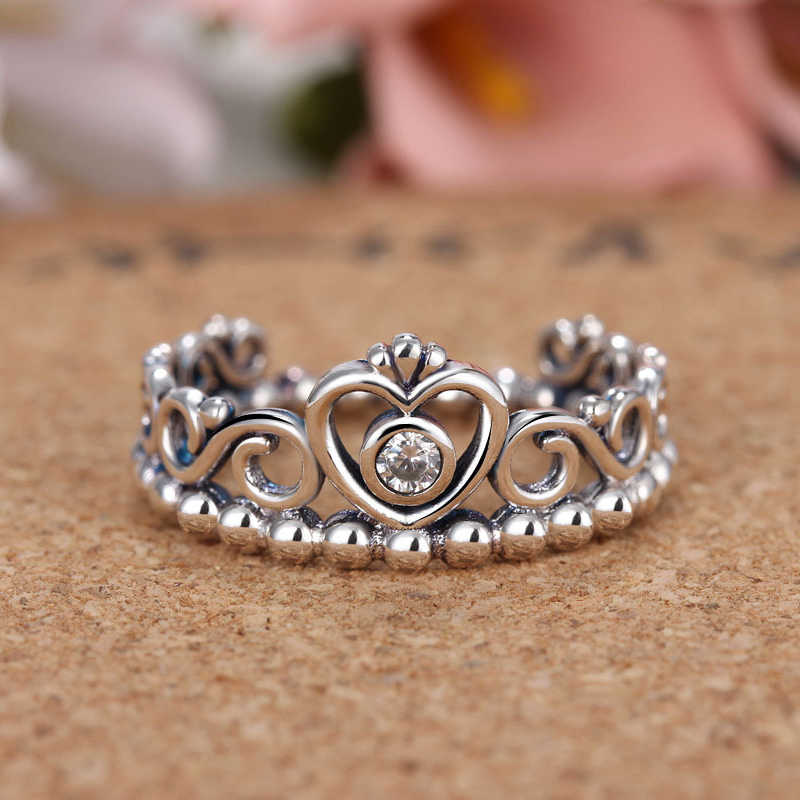 cba758ff7 ... Noble Silver Color My Princess Queen Crown Engagement Pandora Ring with  Clear CZ Women Jewelry Valentine's ...