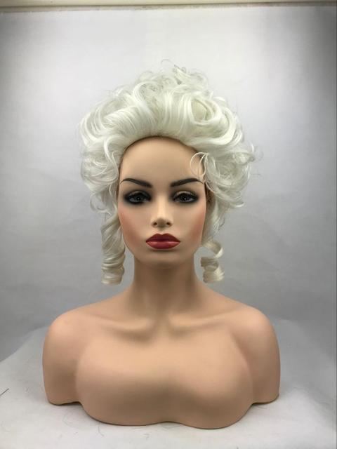 High Quality Marie Antoinette Princess Medium Curly Cosplay Wig  Heat Resistant Synthetic Hair Cosplay Wigs + Wig Cap