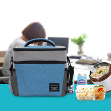DENUONISS Brand 2019 Newest Fashion Women Picnic Cooler Bag Blue Family Food Box Bag for Camping(China)