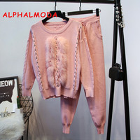 ALPHALMODA 2018 Luxury Ladys Set Real Fox Fur Studded Long sleeved Sweater + Pants Two Pieces Set Women Stylish Clothing Set