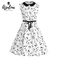 AZULINA Cute Vestidos Plus Size Musical Notes Printed Belted Vintage Midi Dress Female Casual Music Swing