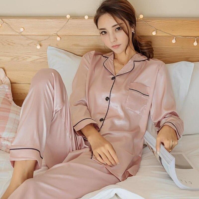 Women's Silk Satin   Pajamas     Set   Long Sleeve Sleepwear Pijama Suit Female Sleep Two Piece   Set   Loungewear   Pajamas   Plus Size