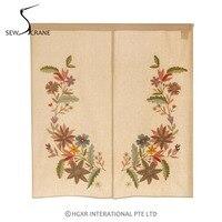 SewCrane Honeycomb Fabric Curtain Multi Color Flowers Embroidered Home Restaurant Door Curtain Noren Doorway Room Divider