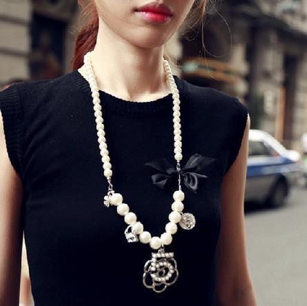 XL31 камелии CC ювелирные изделия известный бренд neckless 2016 длинные жемчужные украшения колье femme ожерелье collares largos женщины номер 5 j