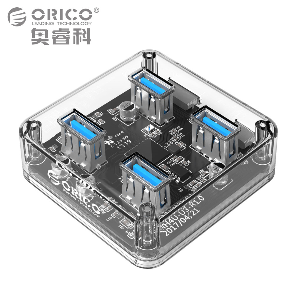ORICO Transparent 4 Ports Hub USB 3.0 with 30 or 100cm Data Cable for Desktop/Laptop Support External Micro USB Power Supply