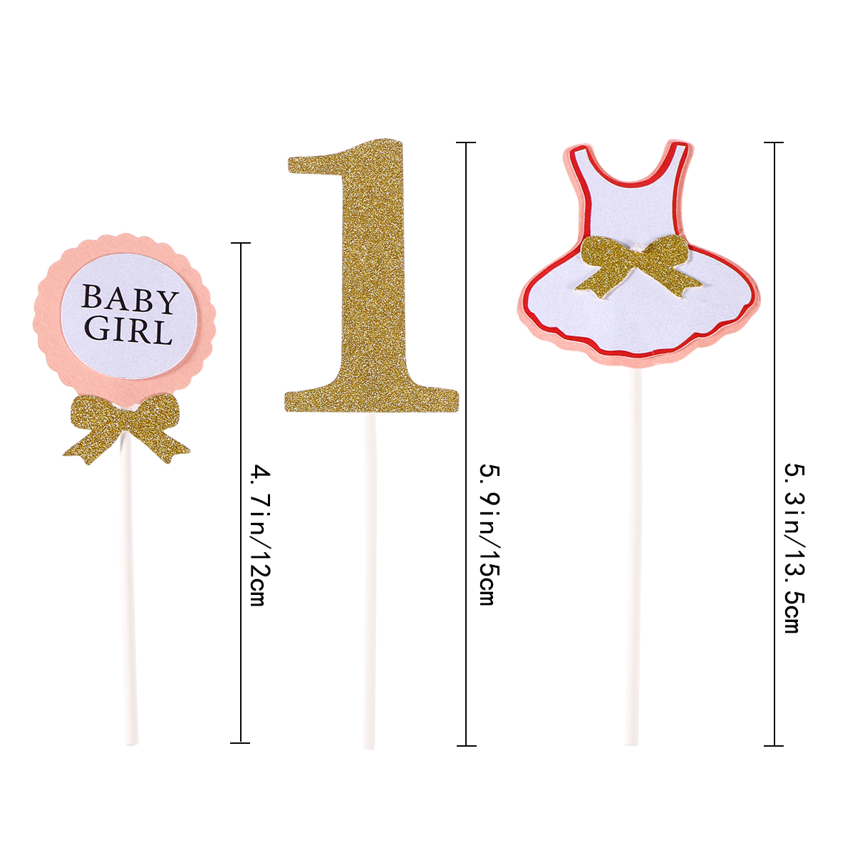 3 Pcs Cake Topper Flag Baby Boy Girl 1 Year Old Age Happy Birthday For Party Decoration In Decorating Supplies From Home Garden On