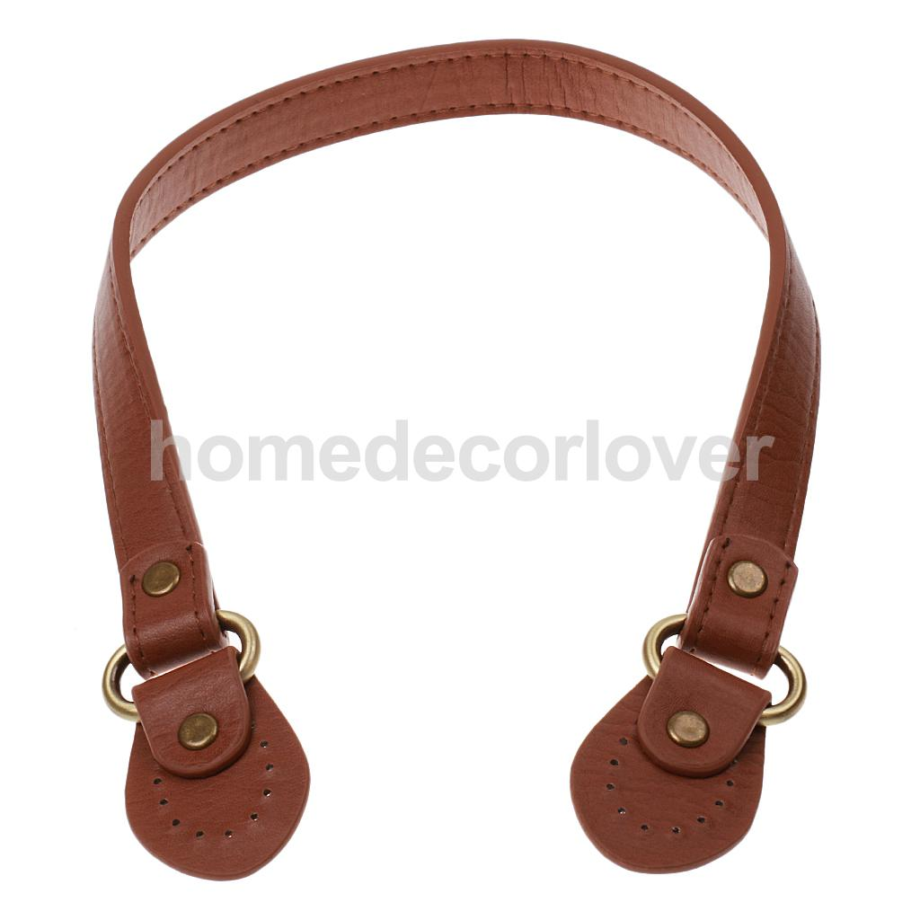 2 Pieces 54 x 1.8cm Replacement PU Leather Handle DIY Strap Strip Purse Bag Band