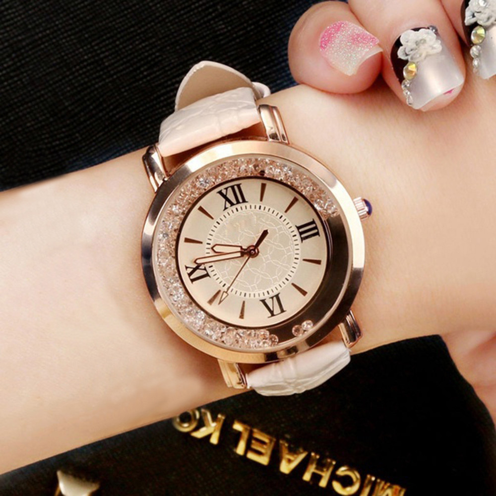 New Ladies Watch Rhinestone Leather Bracelet Wristwatch Women Fashion Watches Ladies Alloy Analog Quartz Relojes @F