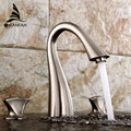 Creative Basin Sink Faucet Hot and cold water Deck Mount 3 pcs Bathroom Brushed Nickel/Black Mixer Taps Two Handles LH-17071