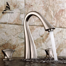 Kreative Becken Waschbecken Wasserhahn Heißen Und Kalten Wasser Deck  Montieren 3 Stücke Bad Nickel Gebürstet/