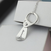 DIY Personalized Custom Lettering S925 Sterling Silver Necklace Easy Pull loop Pendant Necklace Christmas Gift Send Girlfriend
