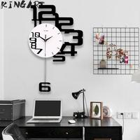 Large Wall Clock 3D Hanging Wall Watch Big Decorative Modern Design Wall Clocks Home Decor Digital Clock Wall For Bedroom