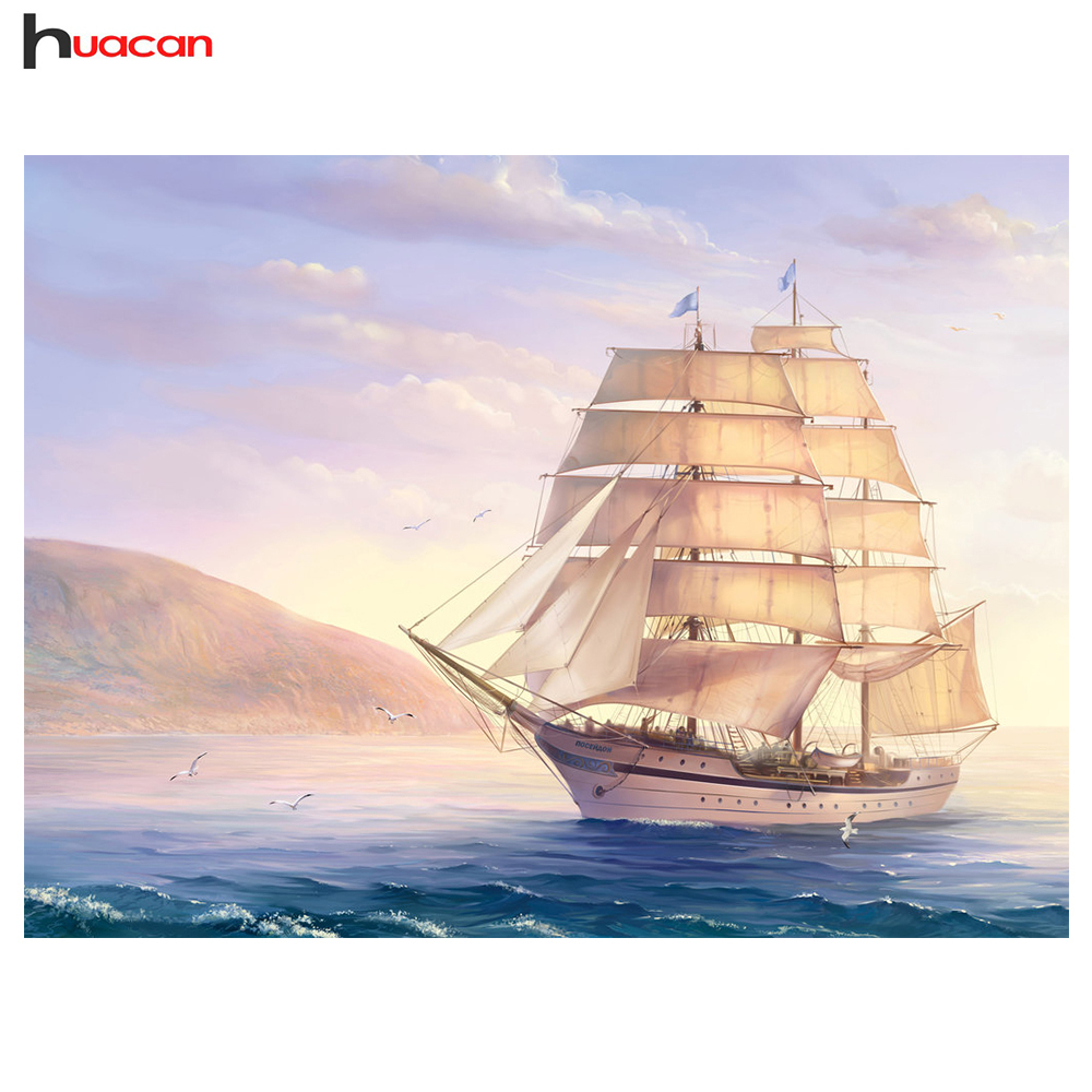 Huacan DIY Diamond Mosaic Scenic Painting Cross Stitch Full Square Diamond Embroidery Ship Picture of Rhinestones Home Decor