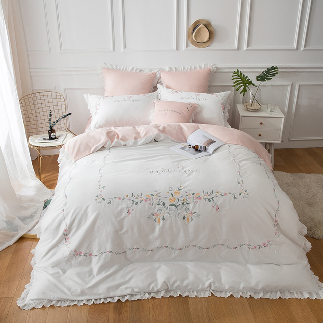 IvaRose 2019 Egyptian cotton bedding sets white Embroidery bed linen duvet cover bed sheet pillow case set king queen size