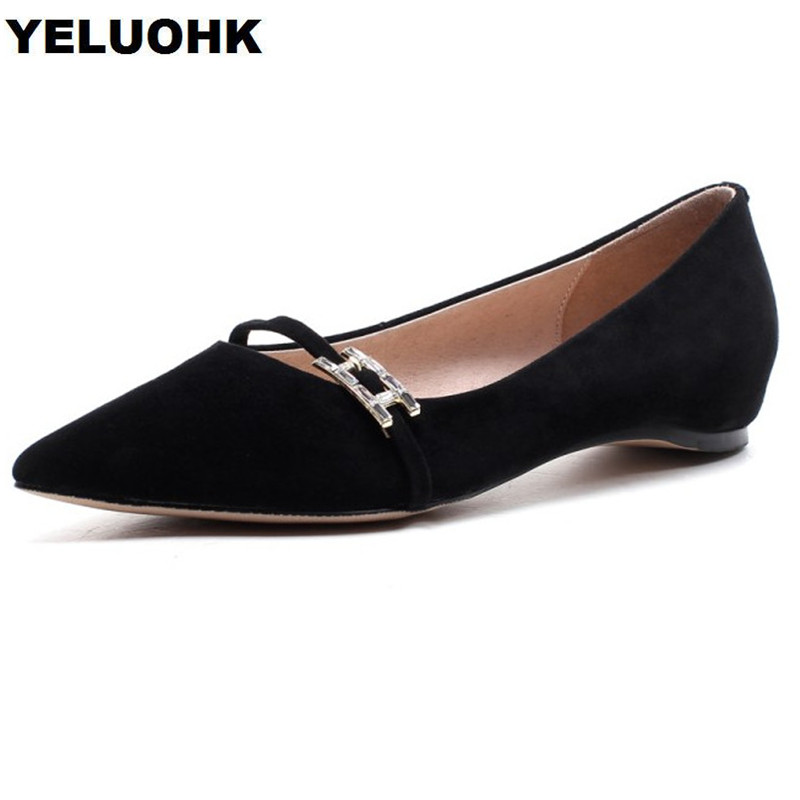 2018 Brand Suede Leather Shoes Women Flats Rhinestone Slip On Ladies Shoes Pointed Toe Female Shoes Spring Black High Quality ladies shoes fashion rhinestone bow women flats spring slip on loafers women pointed toe flat shoes waman black brown flats