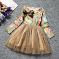 2017 New Hot Baby Kids Girls Floral  Print  Long Sleeve Dress Costume Fashion Casual  Bow Princess  Dresses Children's Clothes