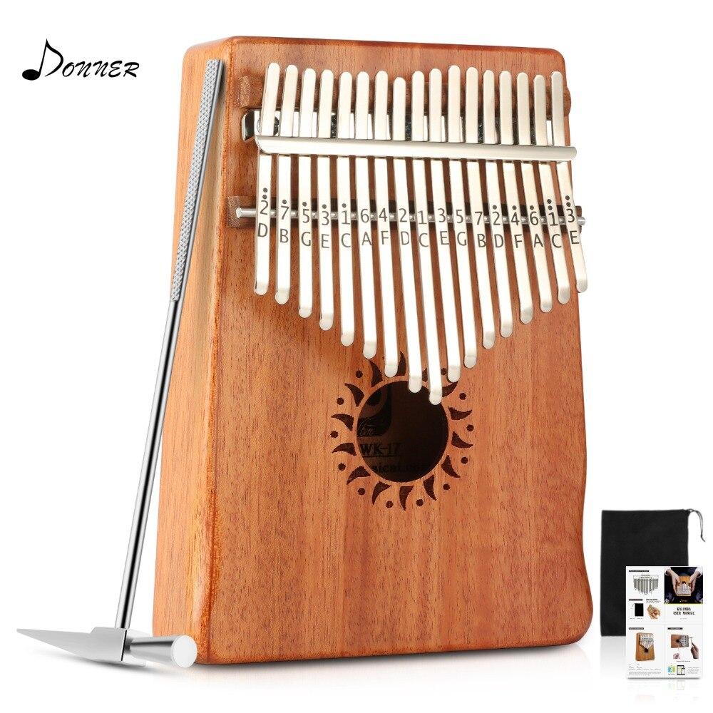 Donner 17 Key Kalimba Thumb Piano Solid Mahogany Body DKL 17