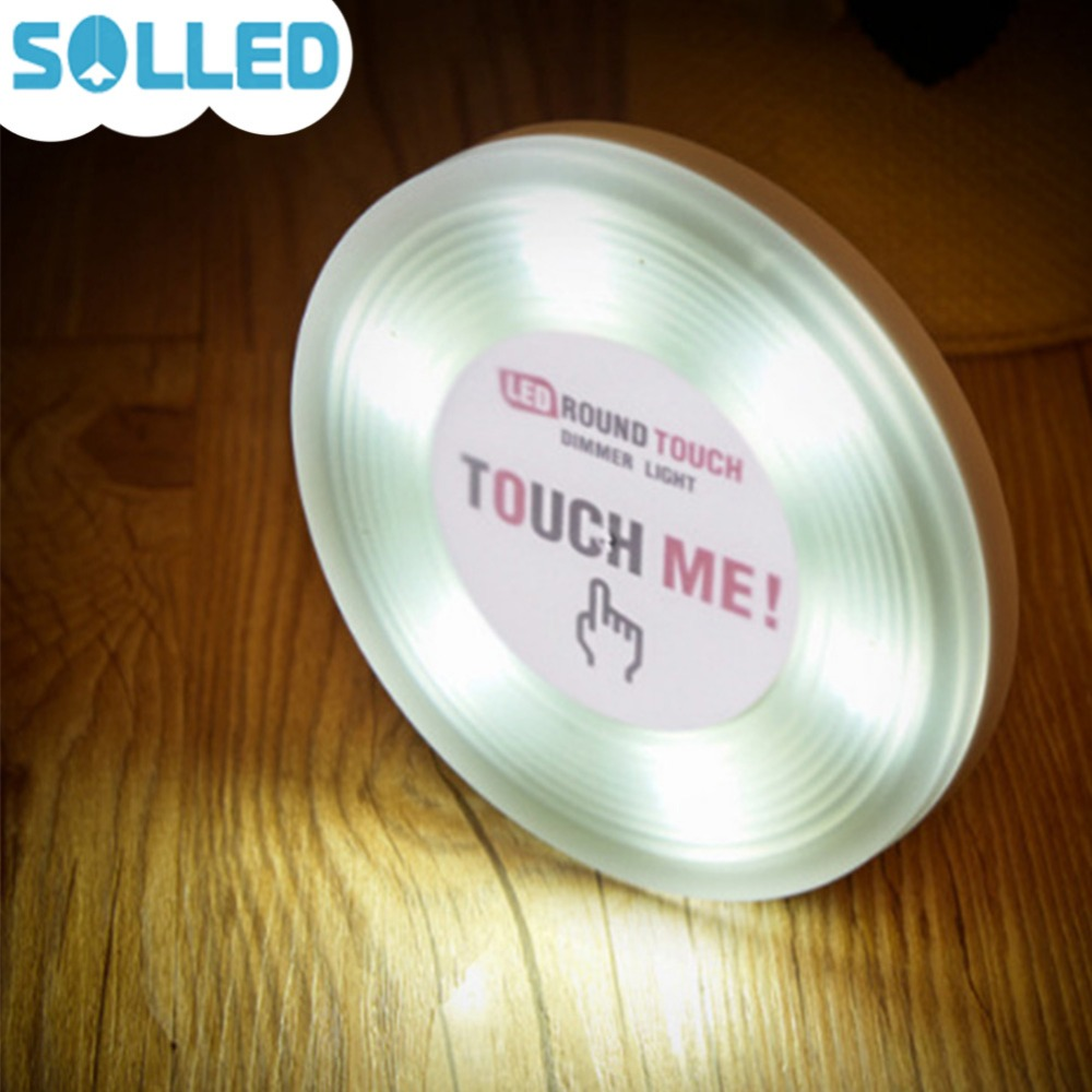 SOLLED Round Cabinet Light with Touch Switch Cute Patting Lamp Mini Night Lamp Cabinet Closet Kitchen Counter Decoration