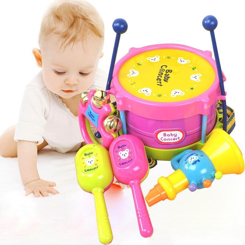5 Pcs/Set Baby Kids Musical Instruments Boys Girls Roll Drum Trumpet Handbell Set Children Educational Toys Gifts -17 NS  998