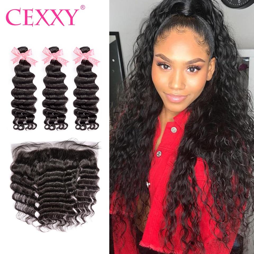 CEXXY Lace Frontal Closure With Bundles Natural Wave Malaysian Virgin Hair 13 4 Frontal Human Hair