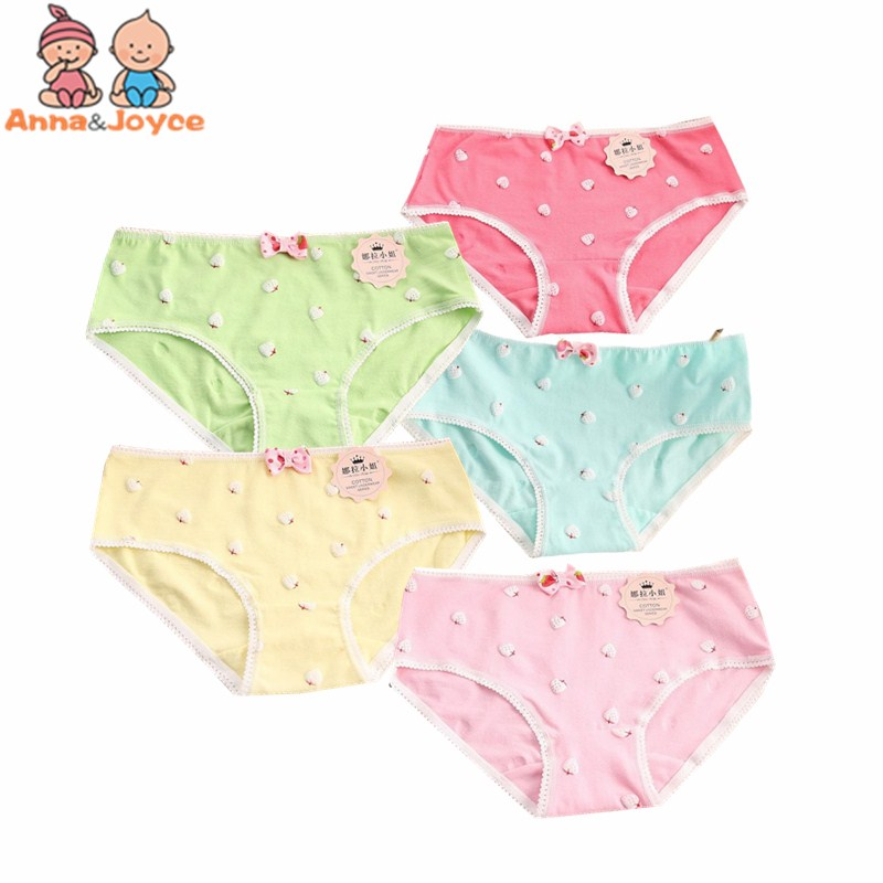 5 Pcs/Lot Soft Cotton Young Girl Briefs Candy Colors Girls Panties For Teenage Kids Underwear Pants Underpants 9-20T