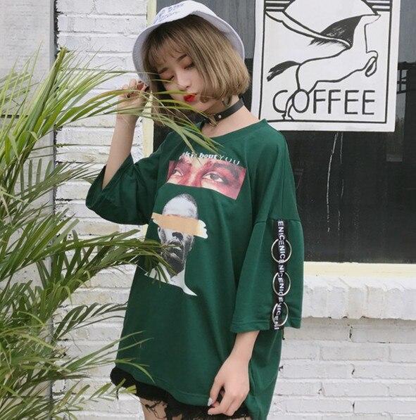 2017 Halajuku D'été Lâche Surdimensionnée De Mode Caractère Imprimé Toutes Les Sélections Street Style À Manches Courtes Femme T-shirts