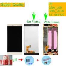 P8 5.2 Inch Lcd + Frame For Huawei P8 GRA_L09 GRA_UL00 GRA-L09 GRA-UL00 Lcd Screen Display Touch Digitizer Assembly Replacement new black 5 2 touch digitizer glass lcd display glass assembly for huawei p8 gra l09 ul00 replacement